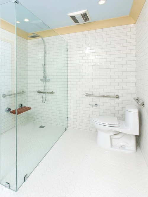 Aging in Place Bathroom Design | Walk in Shower with Grab Bars and White Subway Tile