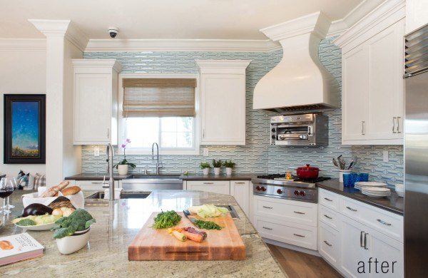 blue geometric tile backsplash in chef's kitchen