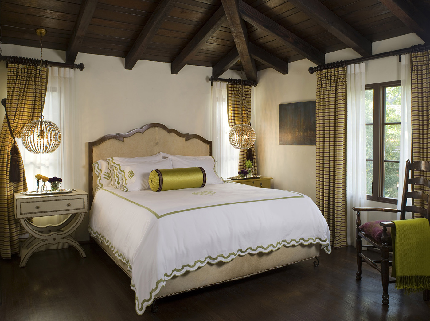 Spanish revival master bedroom in Los Angeles