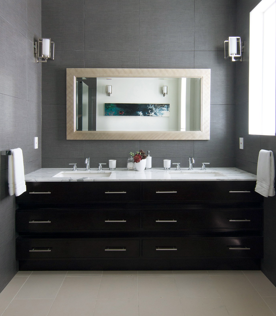 Beach House Bathroom Modern sleek masculine dark cabinets