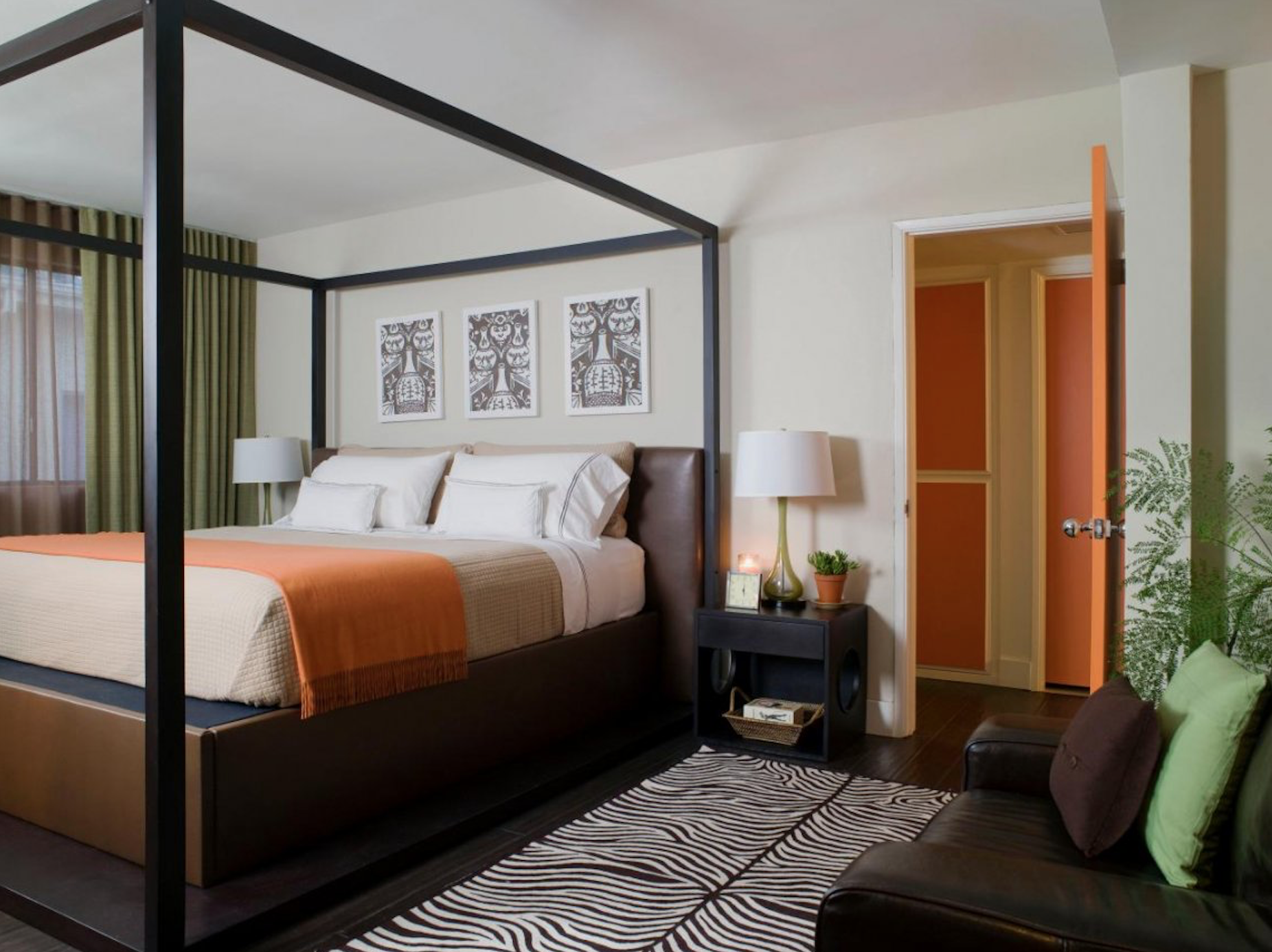 Modern Master Bedroom Orange and Black