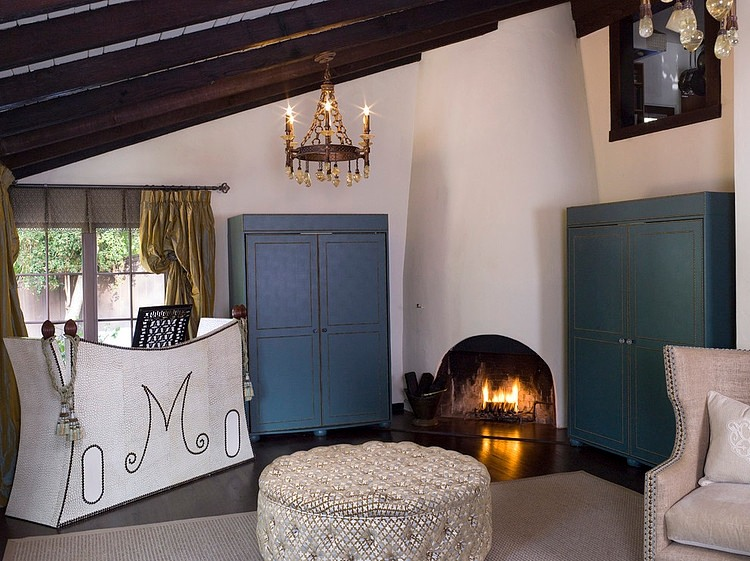 Winter Home: Fireplace lit in Los Angeles Spanish Revival Home
