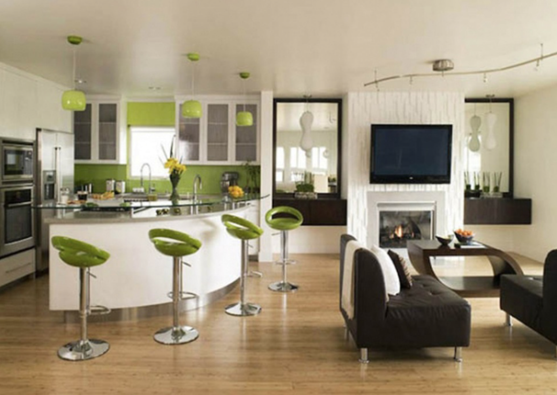 Modern Silverlake Kitchen in Lime Green