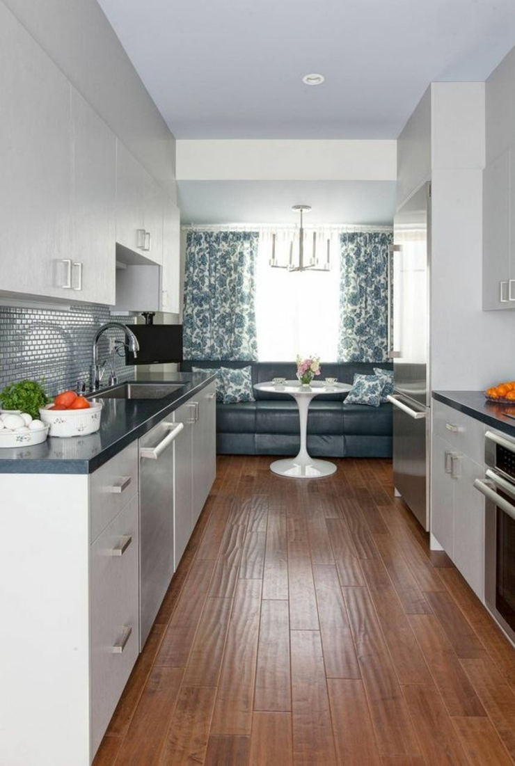 The galley or walk-through kitchen are meant to maximize utility in small or slender spaces like apartments and condos, and are characterized by having two long countertops facing one another, often without an island.