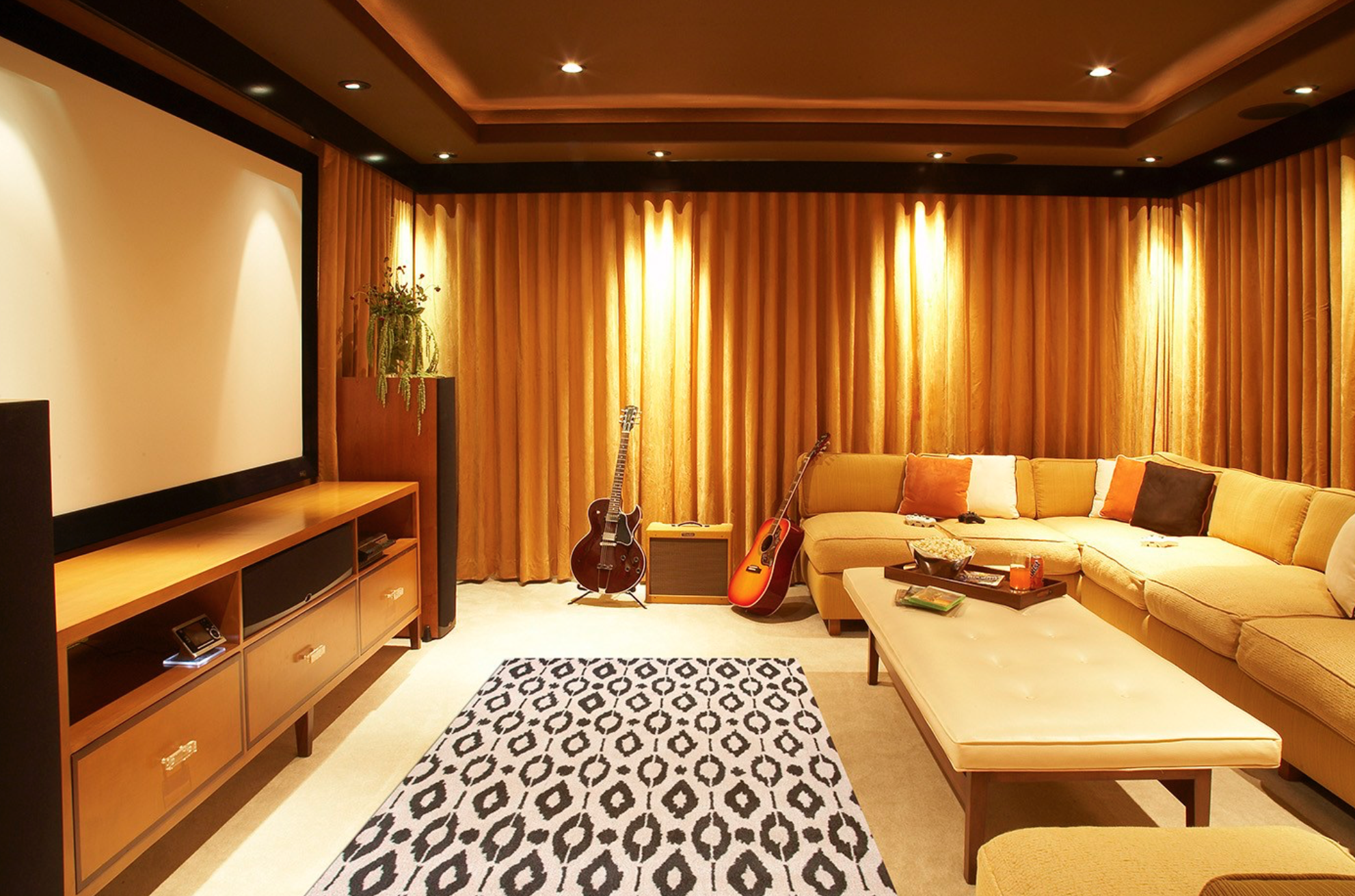 Modern Home Theater by Celebrity Interior Designer Lori Dennis and SoCalContractor
