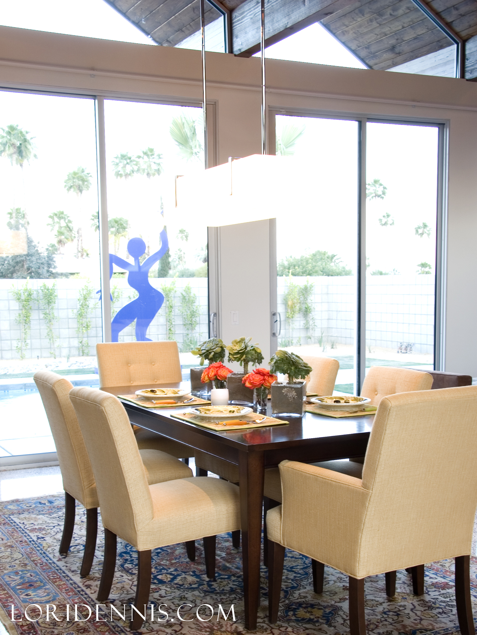 modern california dining room with natural light