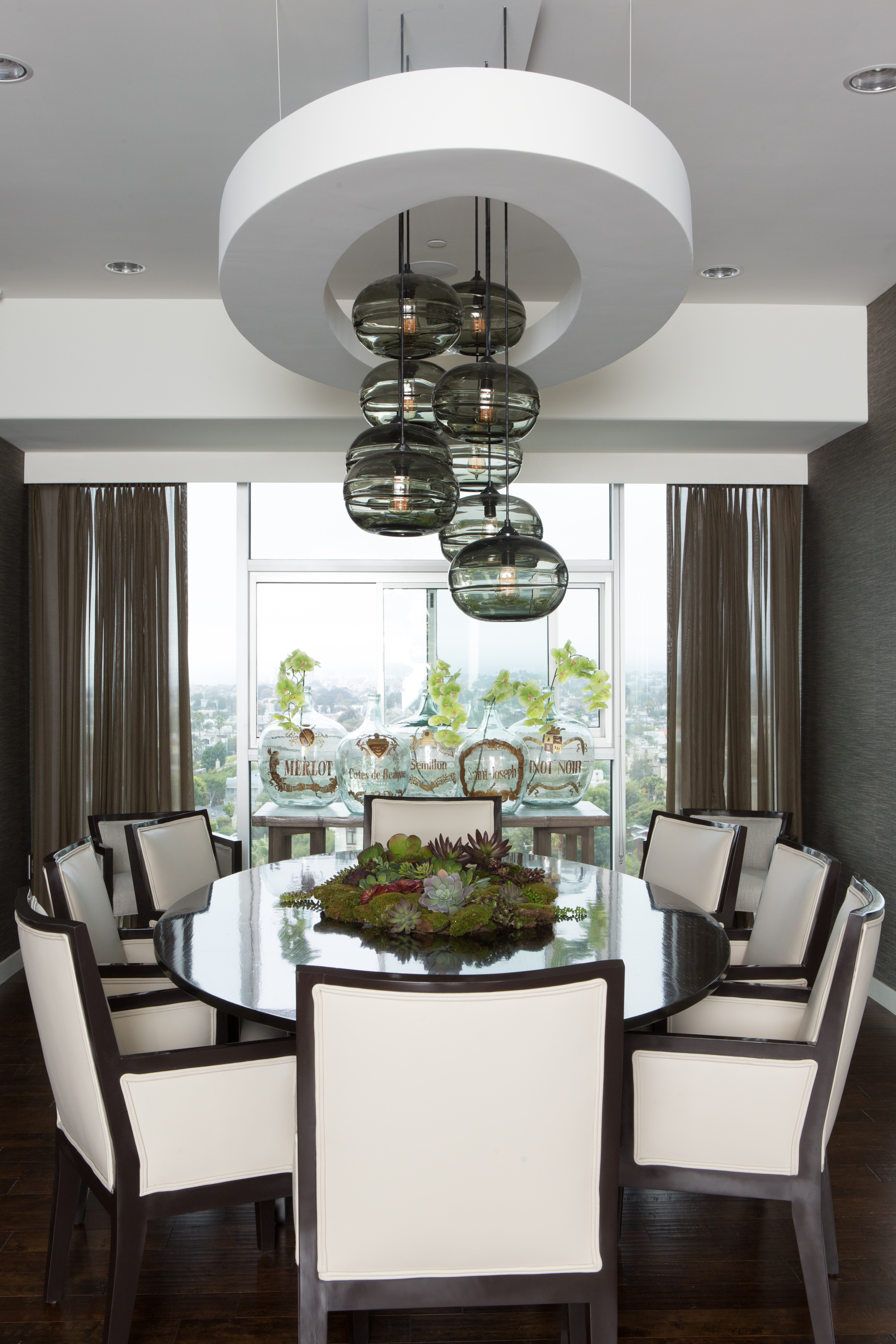 Modern chandelier in Hollywood dining room