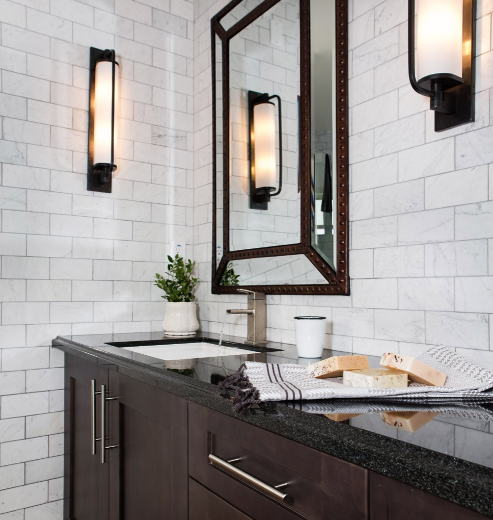 subway tile in modern farmhouse loft in Los Angeles bathroom