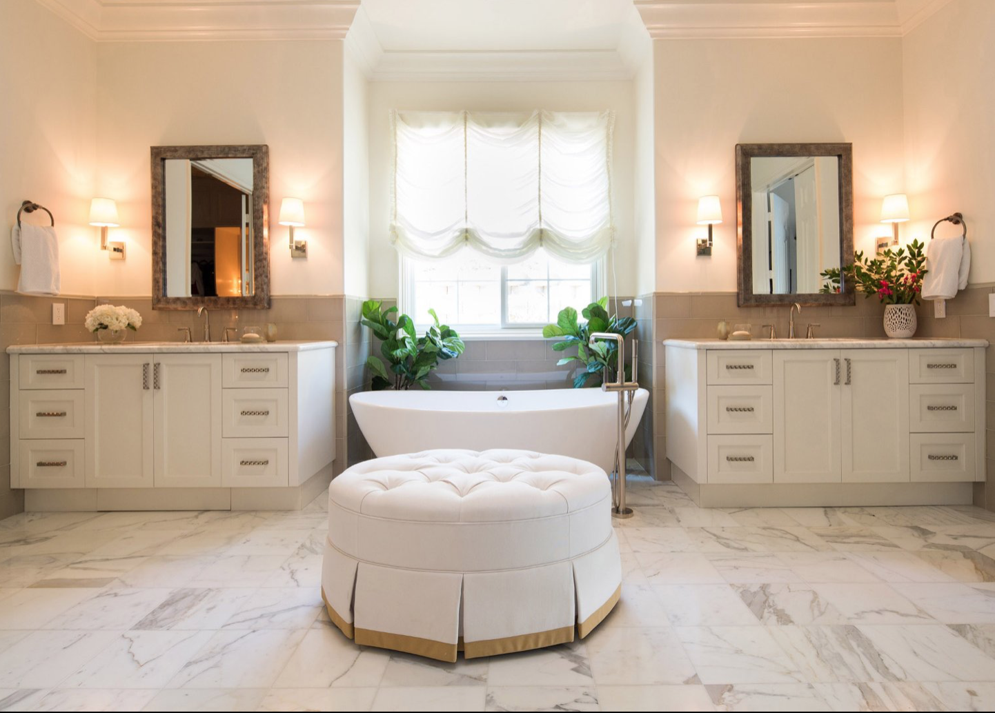 n-glare front-facing (rather than overhead) task lighting on either side of a vanity and overhead skylight windows are great ways to increase brightness in a focused and natural way in your bathroom.