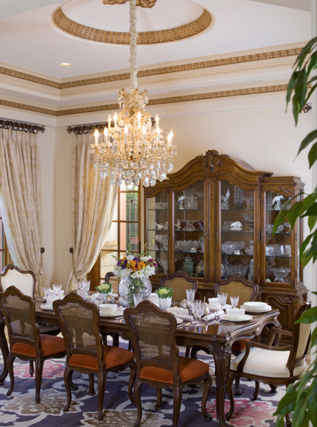Ornate Traditional Dining Room with Chandelier