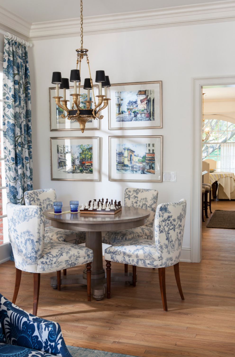 blue contemporary dining room in Lake Sherwood home