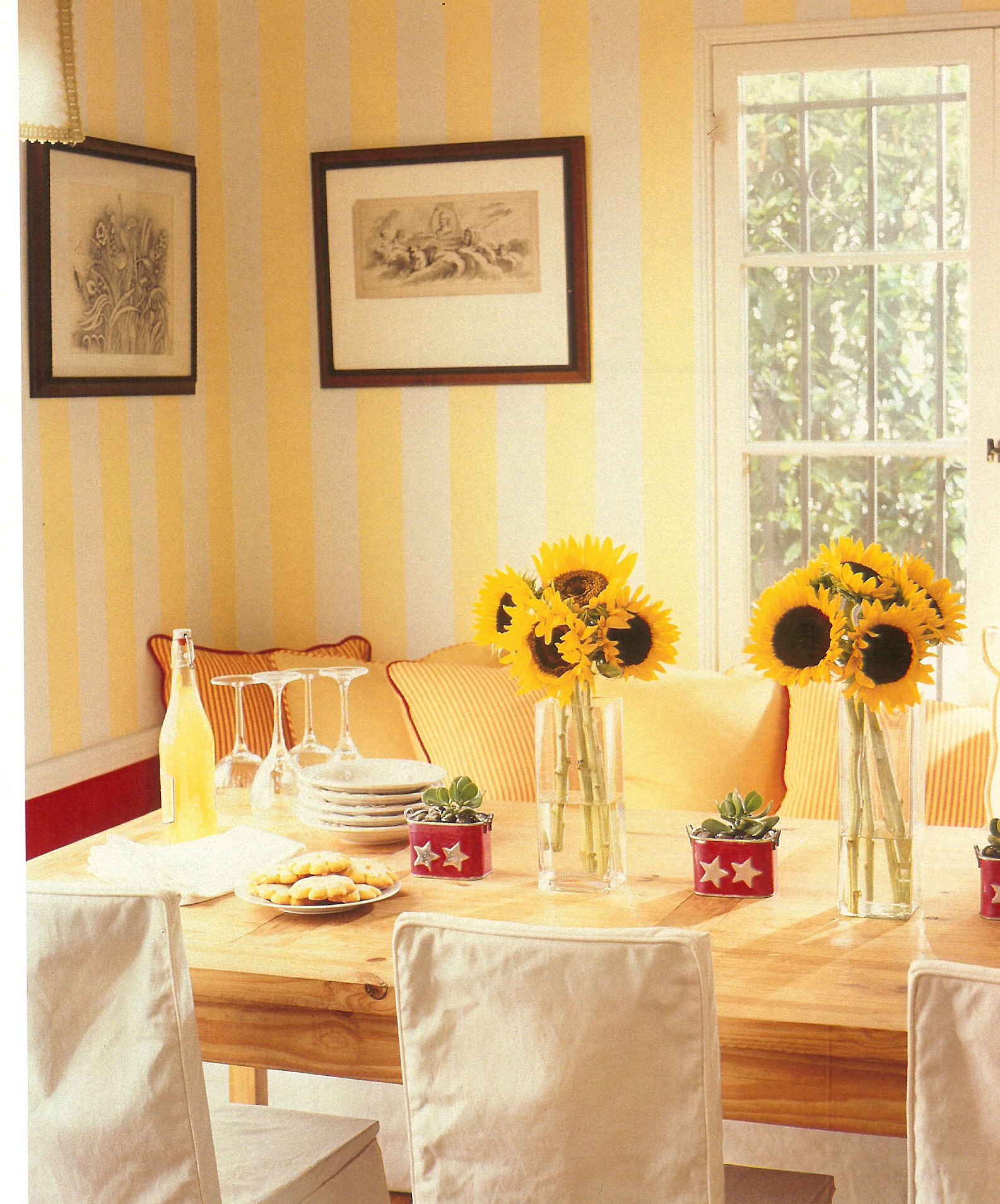 Sunny dining room with sunflower centerpiece