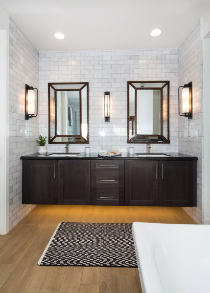 Porcelain Wood Flooring in a Modern Farmhouse Bathroom with Subway Tile