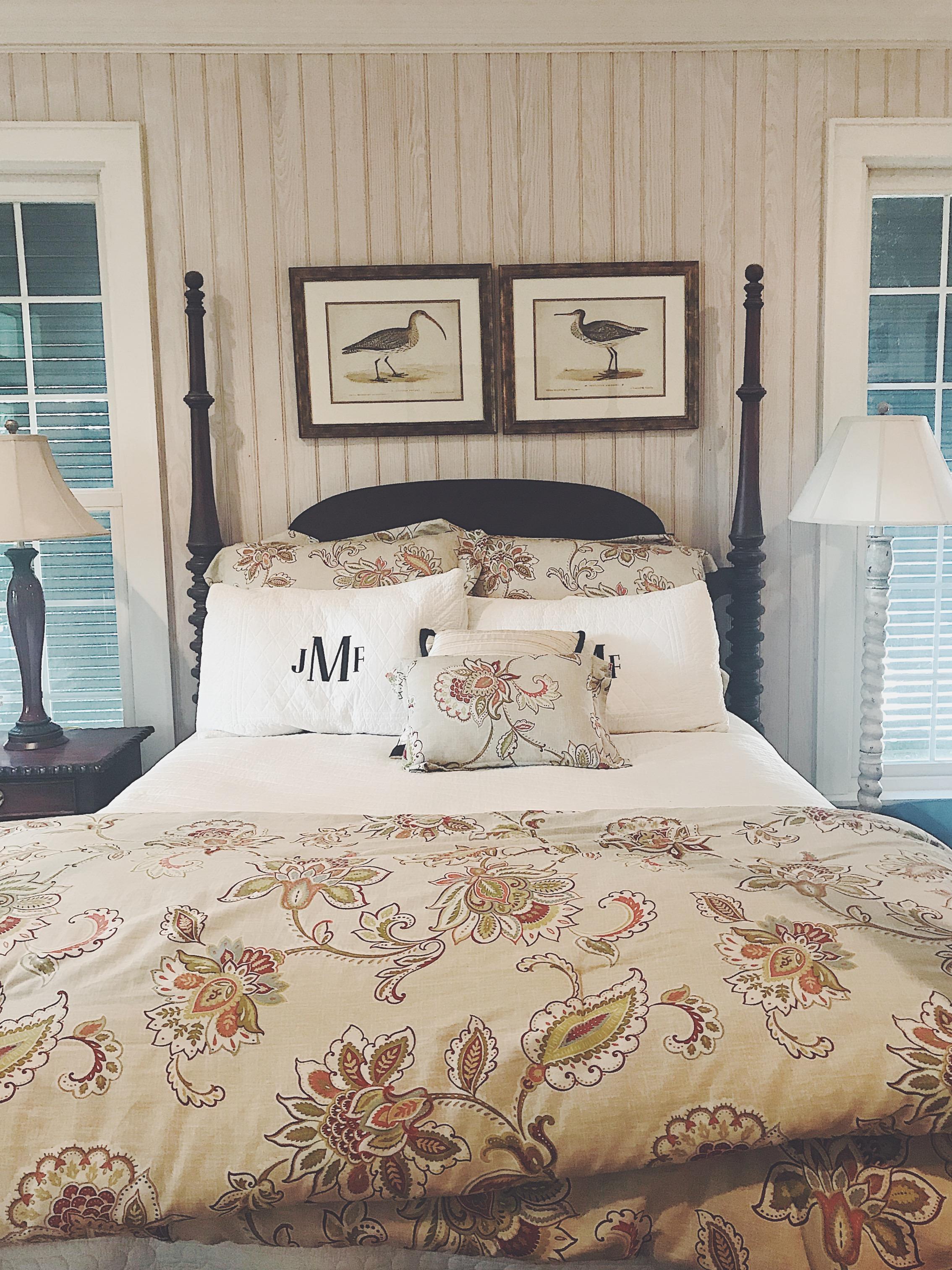 Shiplap walls in master bedroom