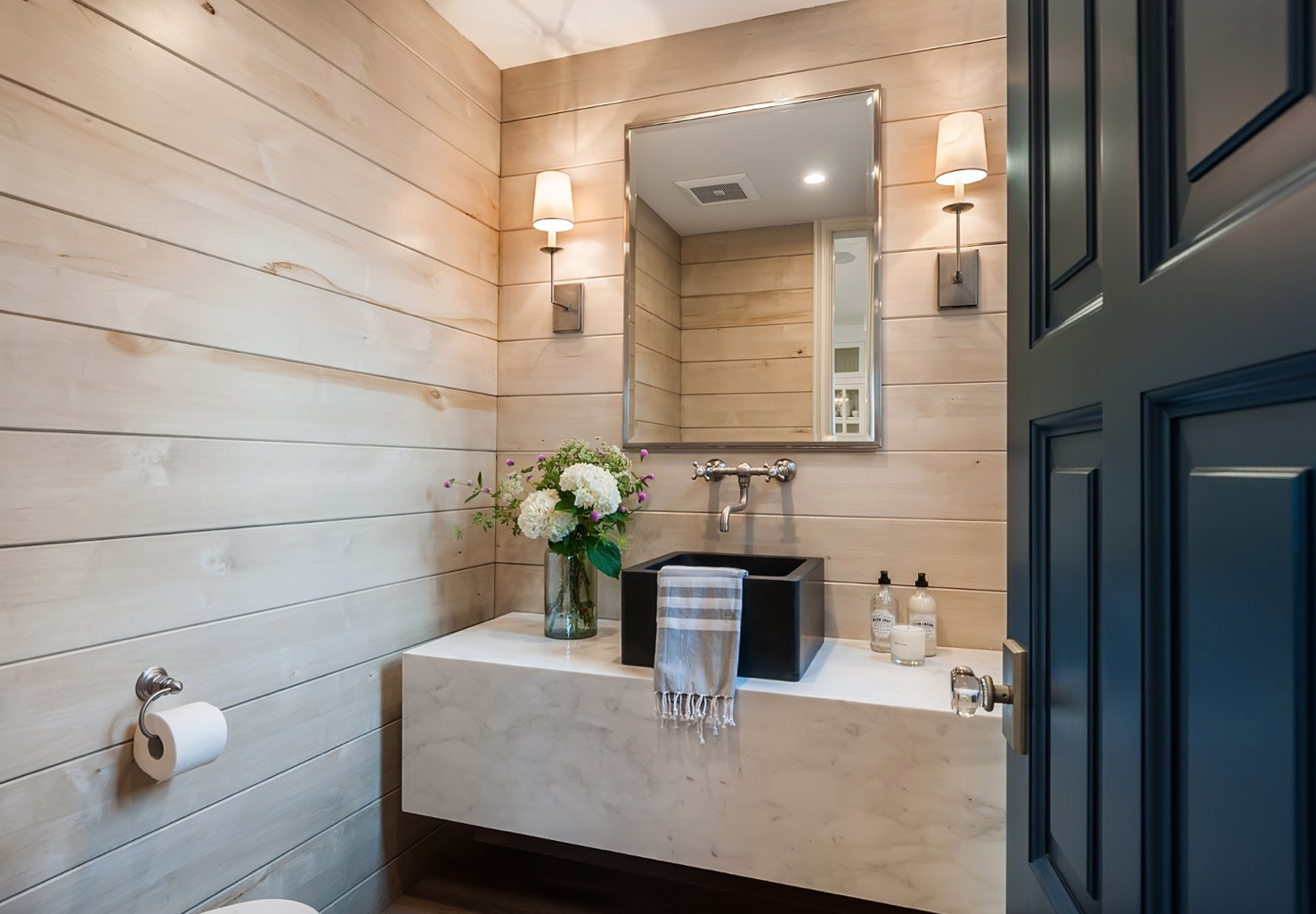 Coastal Tile Bathroom with Wooden Tile Walls