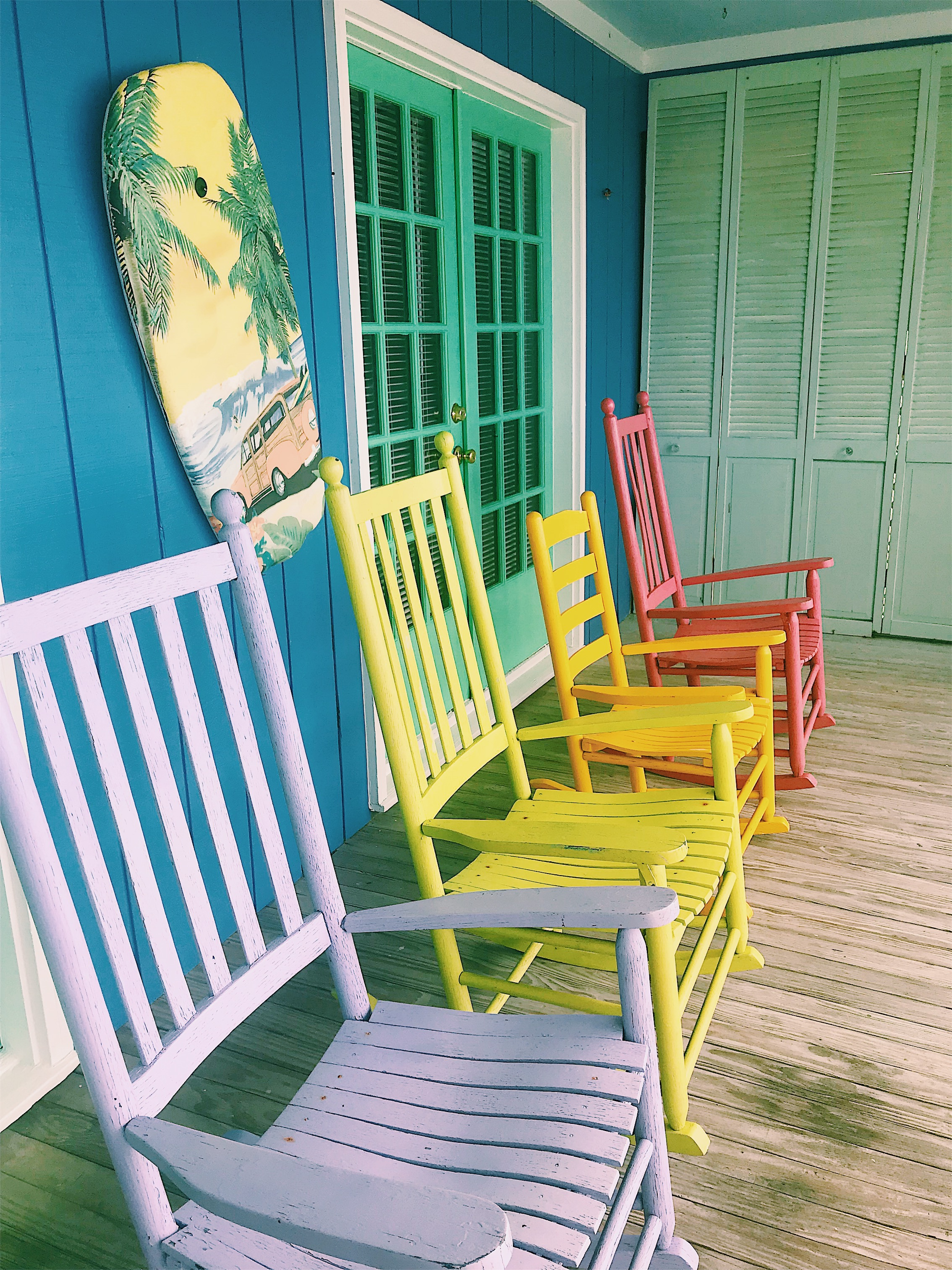 rainbow colorful rocking chairs