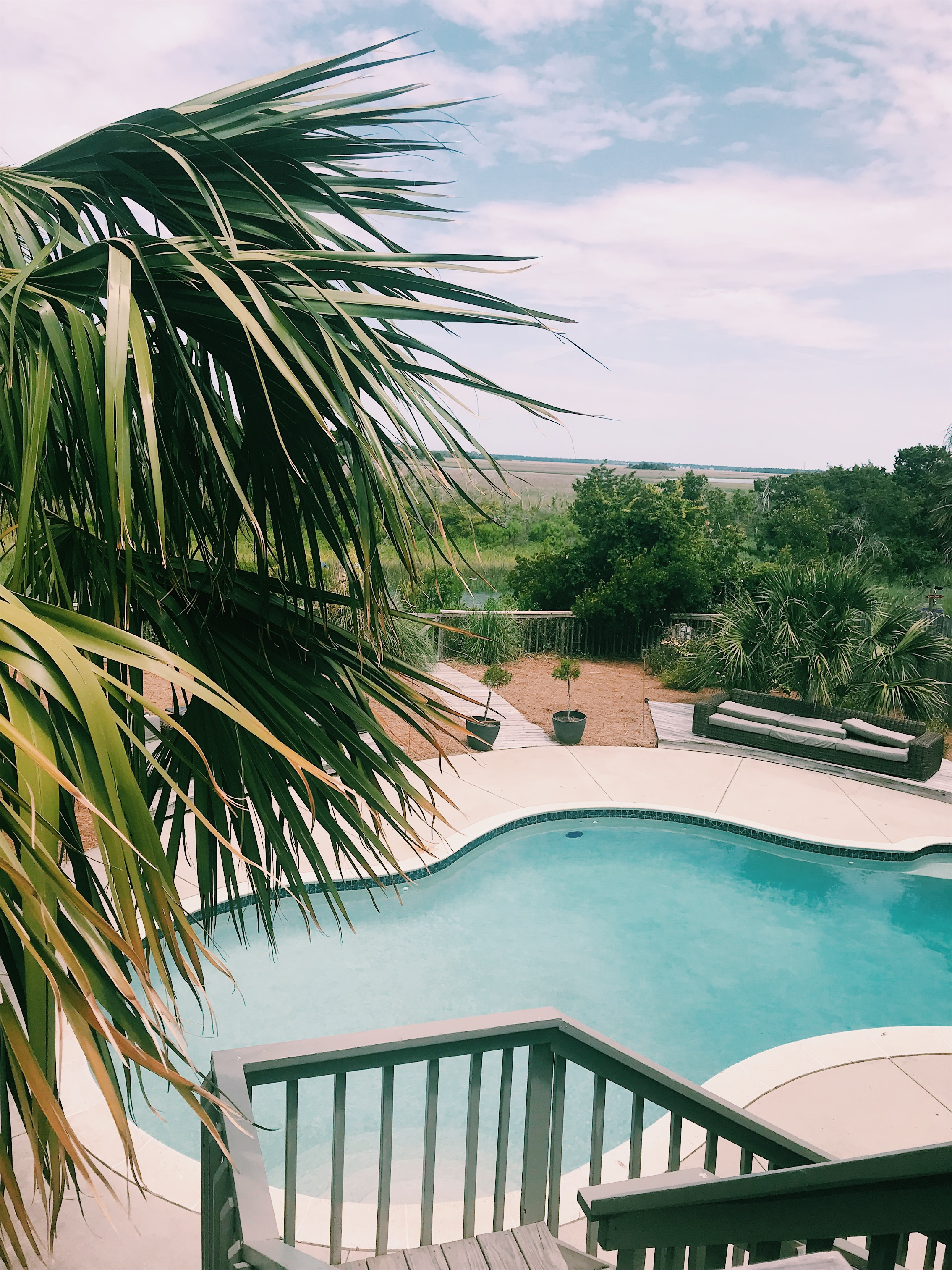 Pool and deck overlooking the marsh in folly beach