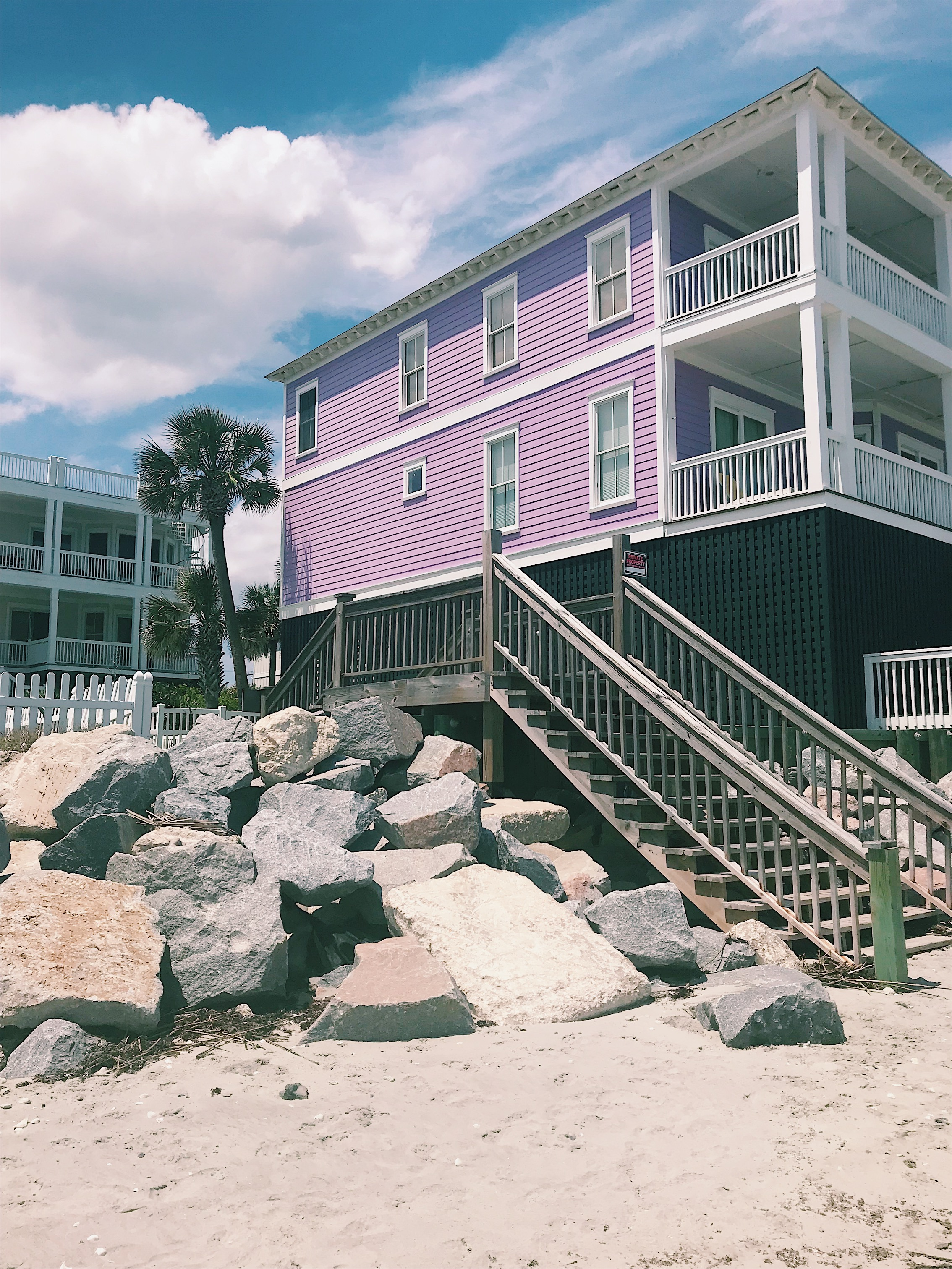 Purple beach house in folly beach