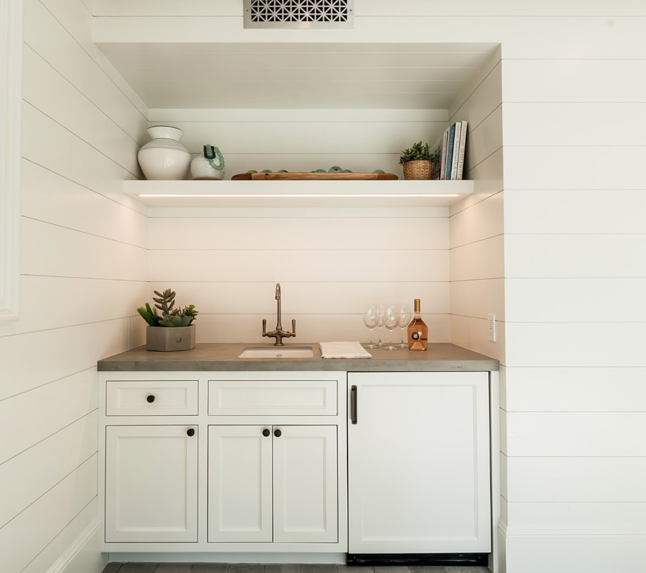 Wet Bar built in for entertaining in modern coastal farmhouse