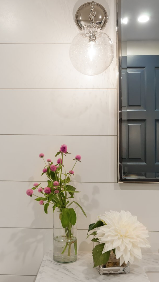 White Shiplap Bathroom Wall in modern coastal farmhouse in santa monica