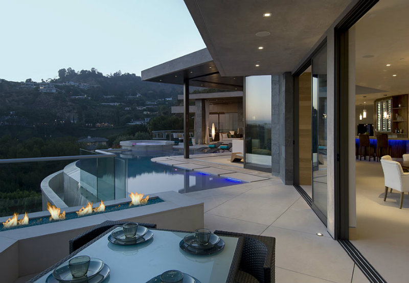Best Interior Designer Lori Dennis Hollywood Hills Modern Mansion Outdoor Lighting