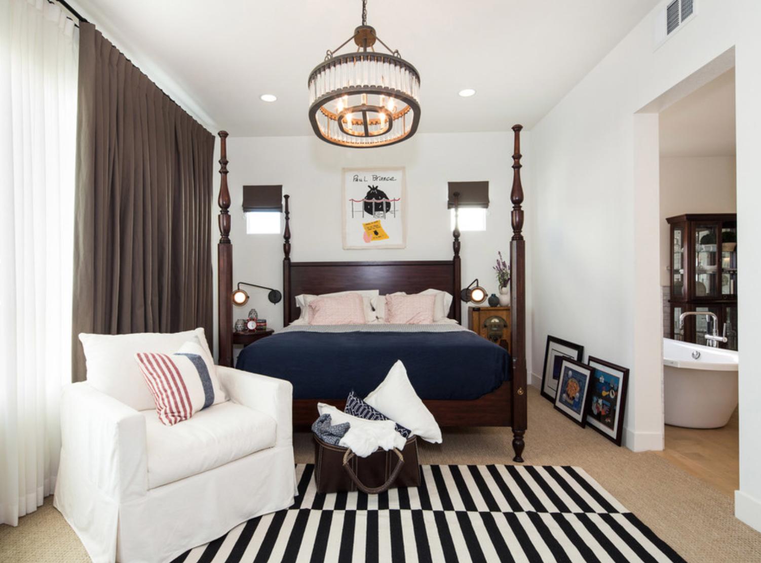 modern farmhouse loft in los angeles guest bedroom
