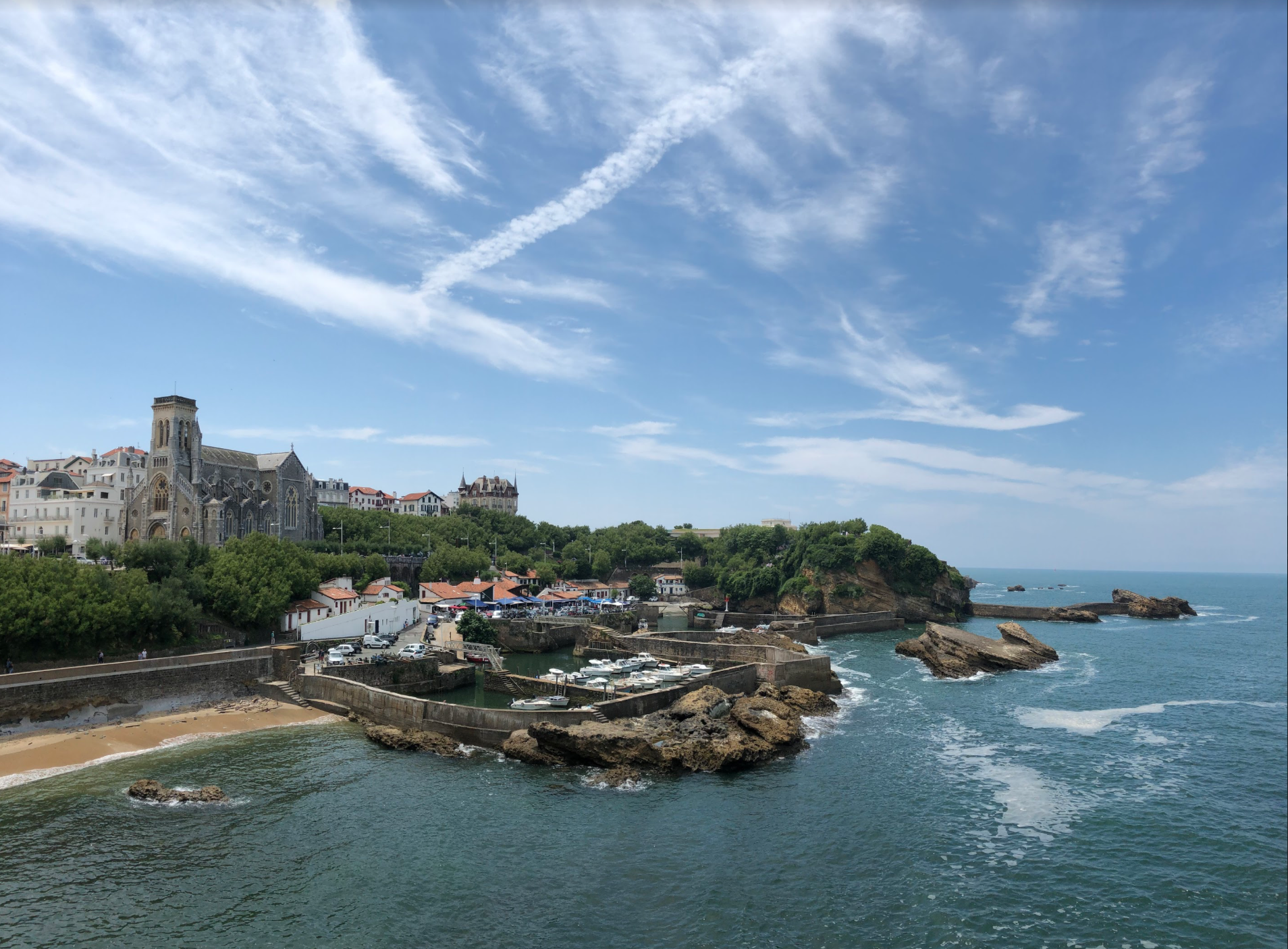 Venturing just 11 miles farther from the Spanish border, along the Basque coastline, you'll arrive in Biarritz, France. It's an elegant, coastal, French beach town with breathtaking ocean views and a laid back attitude.