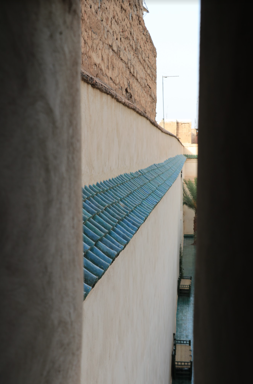 overlapping hand-glazed spanish roof tiles