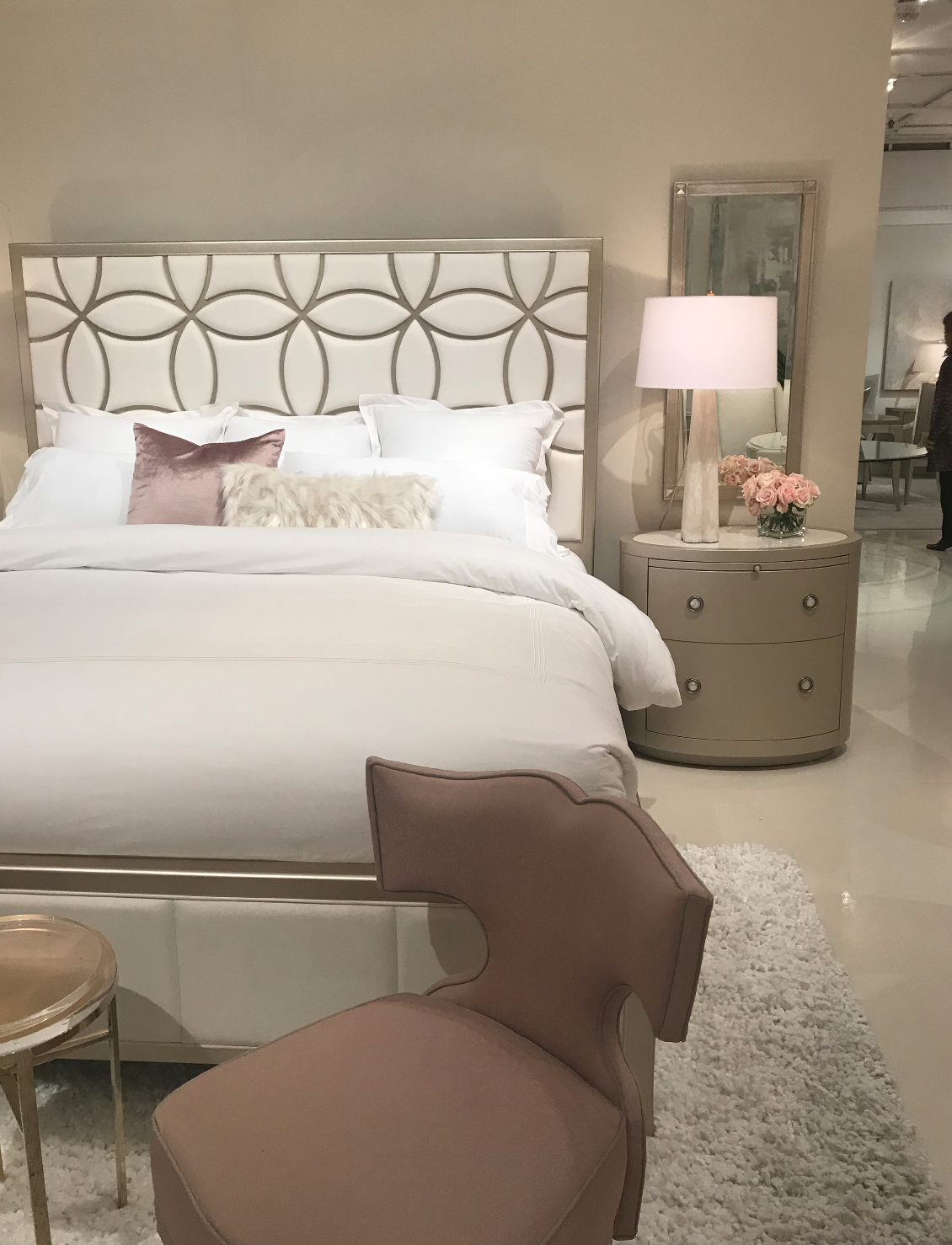 blush neutral feminine bedroom setting from Caracole