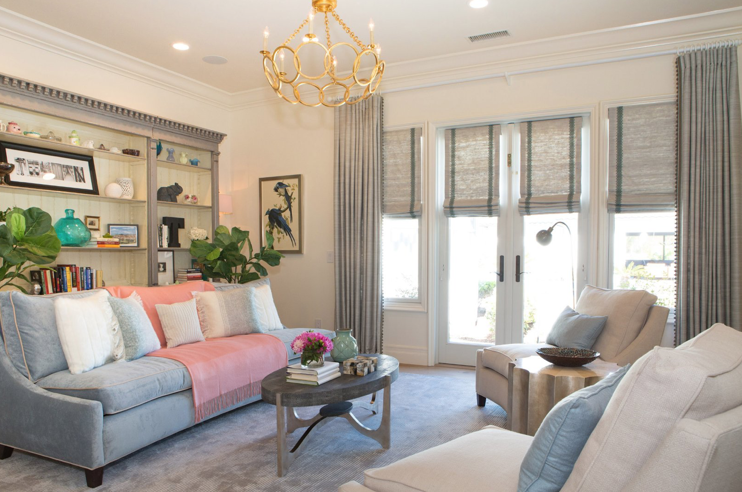 Lori Dennis living room ft coral and blue combo