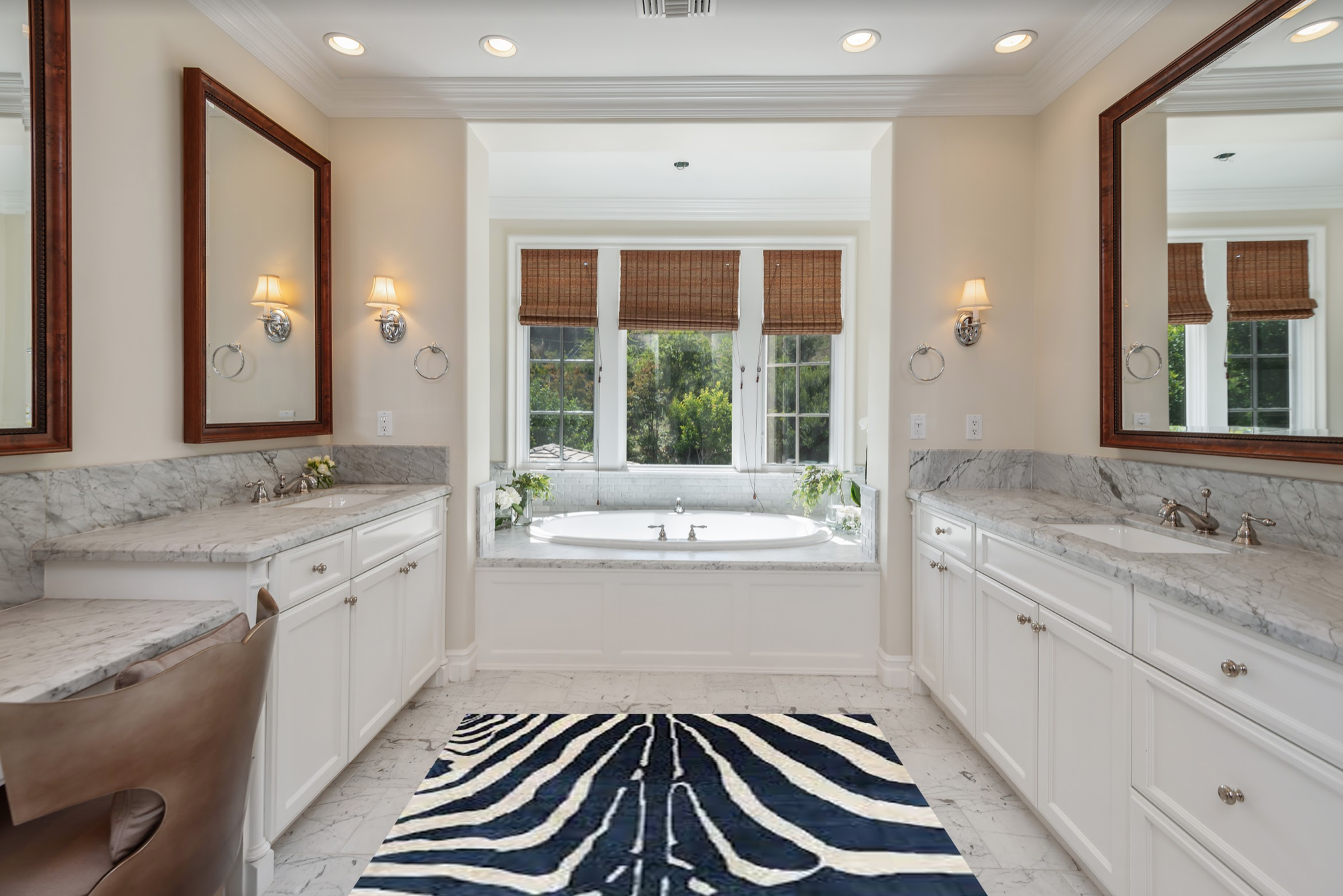 white windows in bathroom with cheetah rug