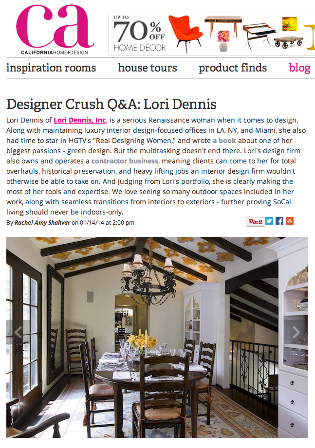 Los Angeles Celebrity Interior Designer Lori Dennis