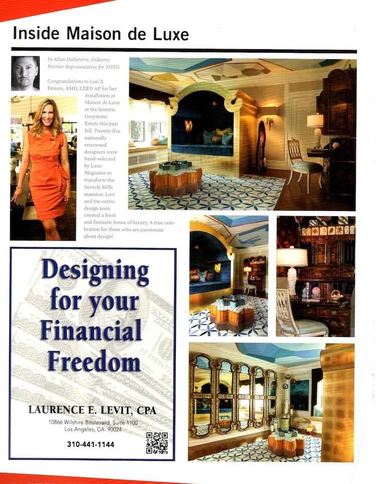 LA Design Magazine Winter 2012 Celebrity Interior Designer Lori Dennis