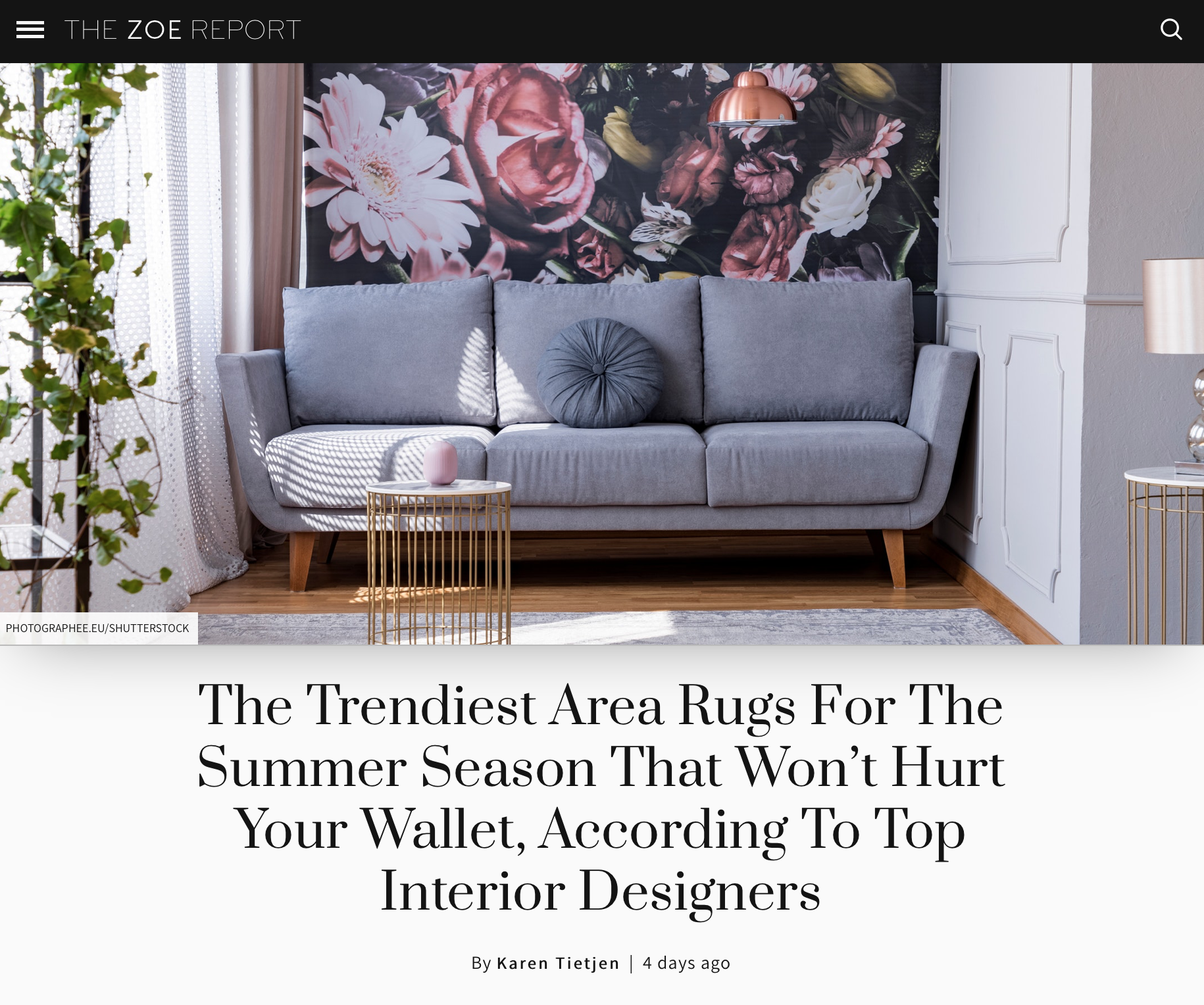 Lori Dennis talks to the Zoe Report about area rugs